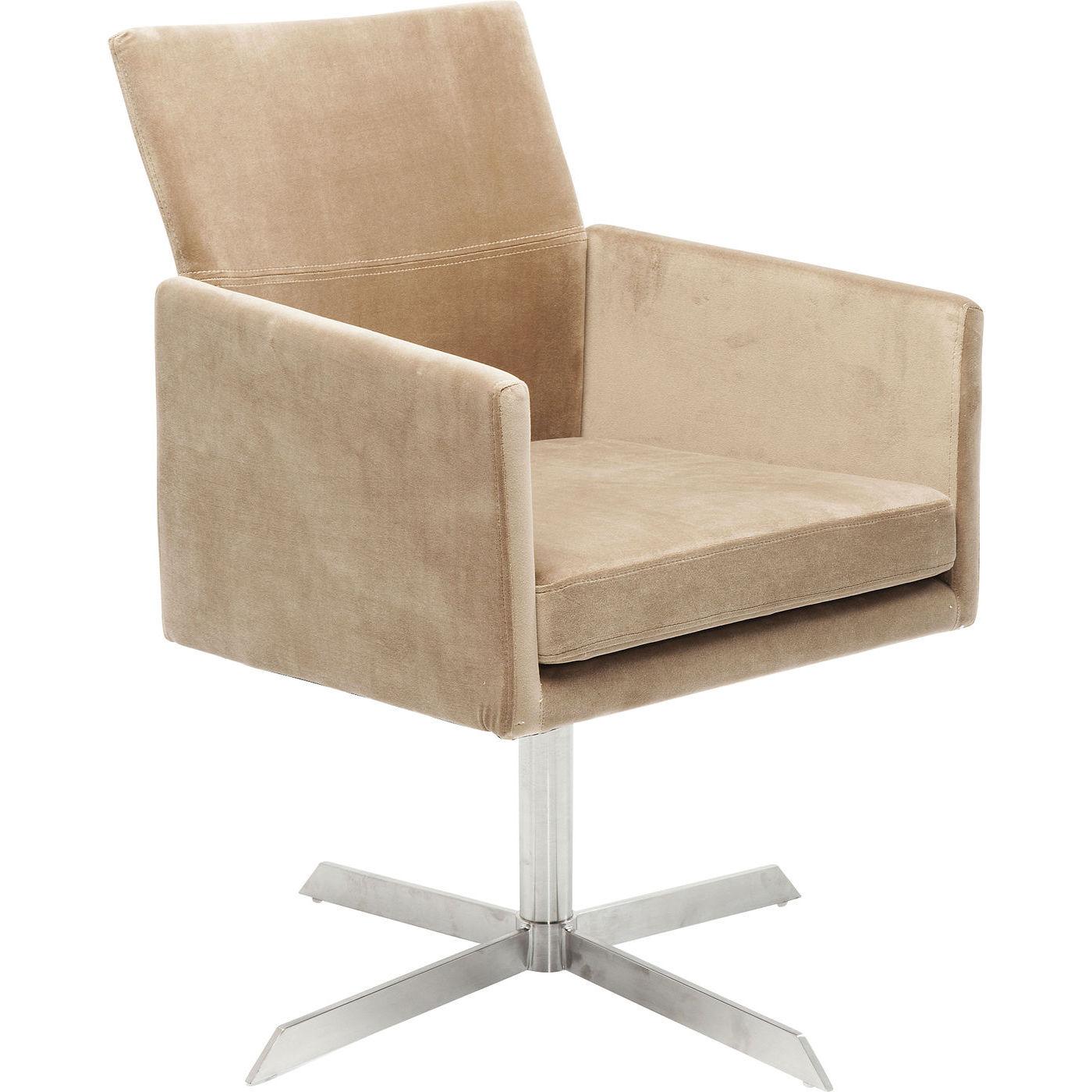 KARE DESIGN Swivel Dialog Beige spisebordsstol - beige stof/sølv stål, m. armlæn