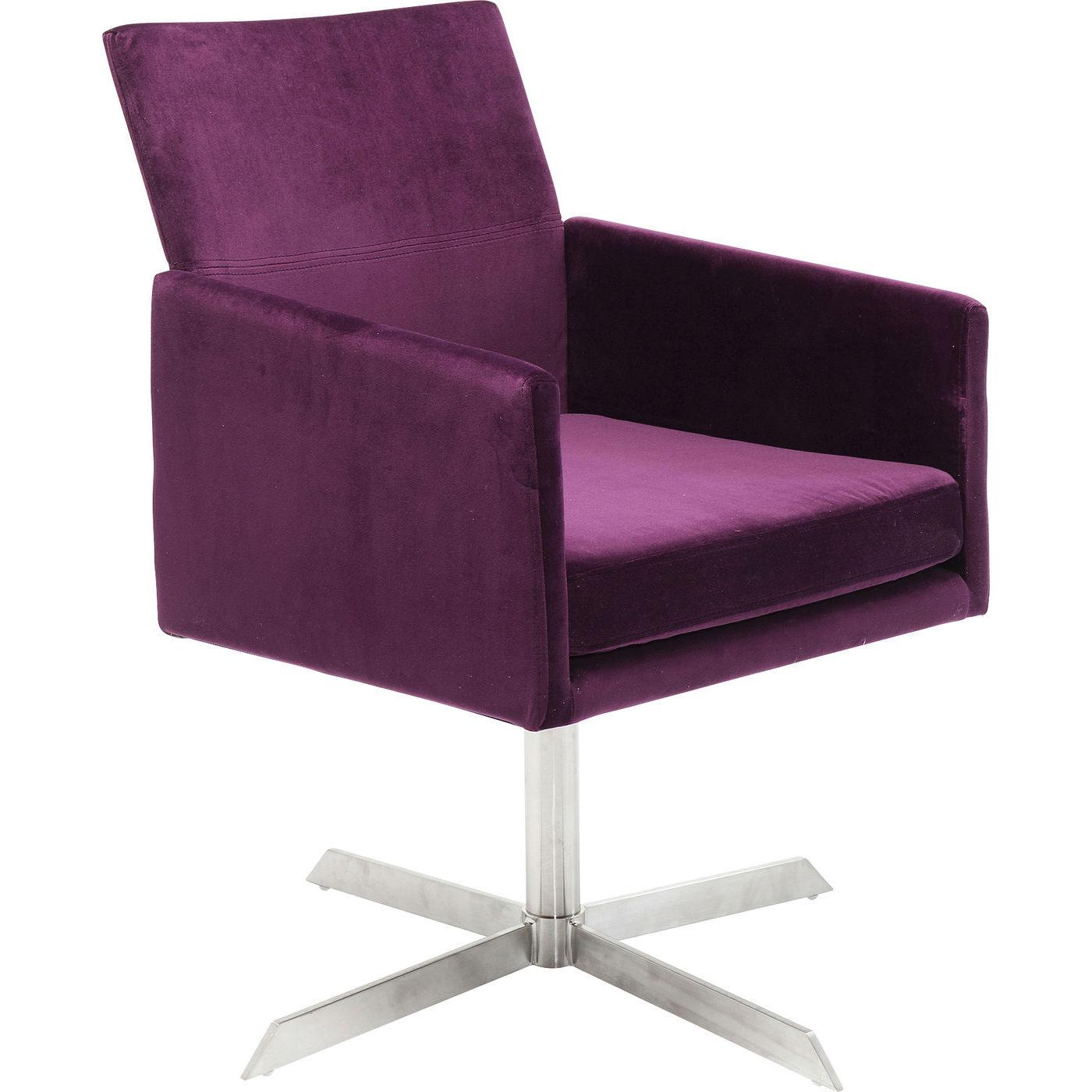 Kare design swivel dialog purple lænestol - lilla stof/sølv stål, m. armlæn fra kare design på boboonline.dk