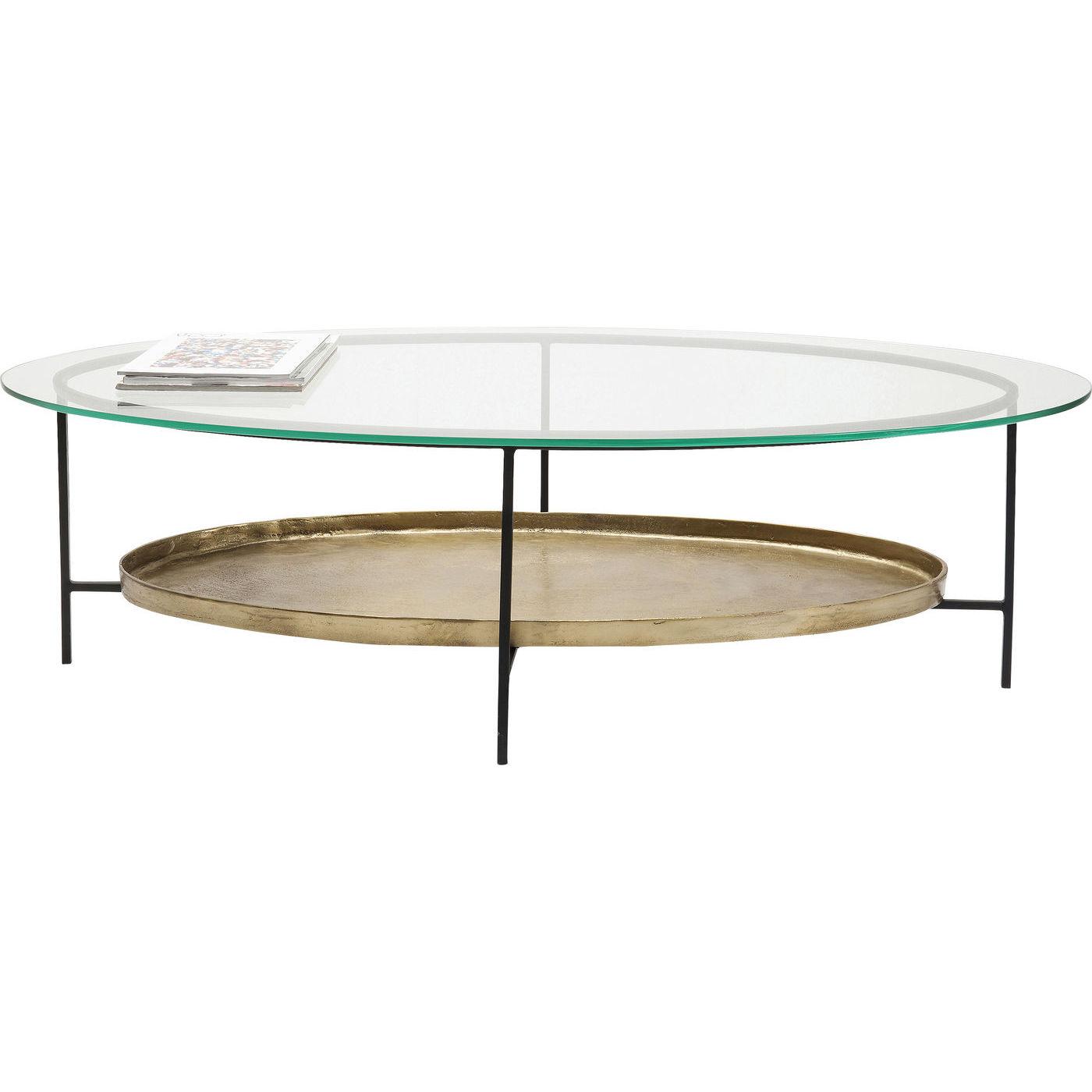 KARE DESIGN Secrets sofabord - klart glas/sort stål/messing aluminium, oval, m. 1 hylde (120x60)