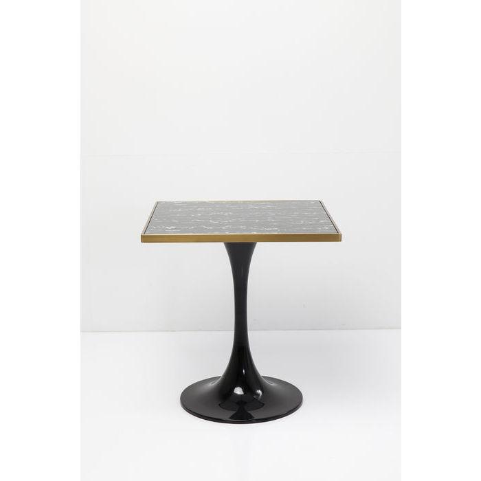 Kare design san remo schwarz square caf?bord - sort lamineret glas og messing/sort stål (72x72) fra kare design på boboonline.dk