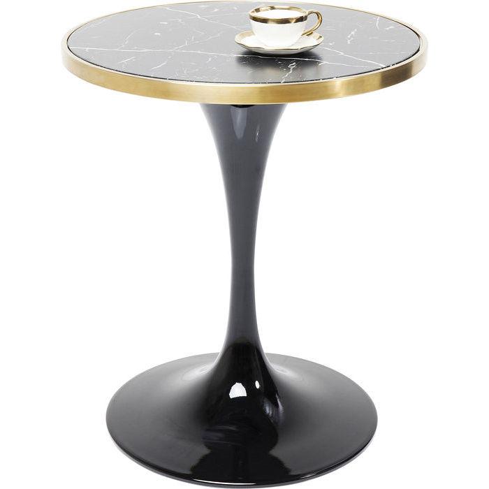 kare design Kare design san remo black round caf?bord - sort lamineret glas og messing/sort stål, rundt (ø62) på boboonline.dk