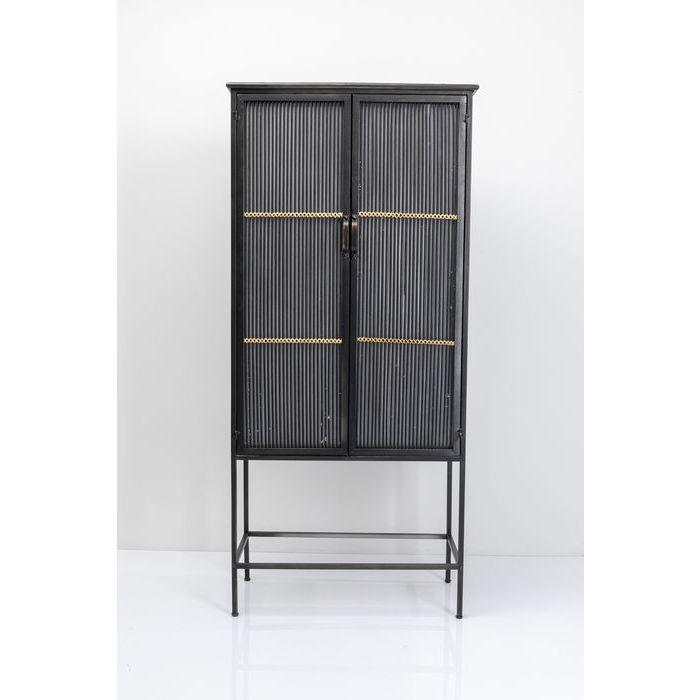kare design – Kare design bamboo skab - sort rattan/stål, m. 2 låger og 2 hylder fra boboonline.dk