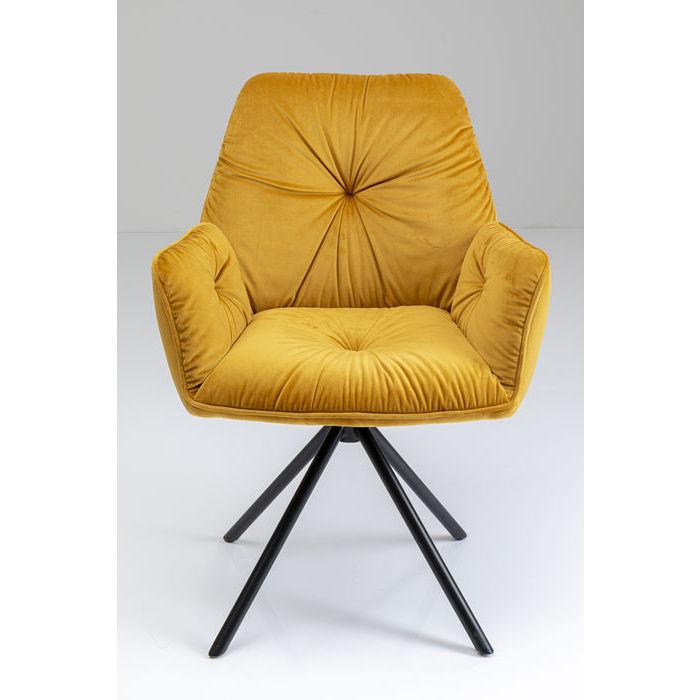 kare design – Kare design mila spisebordsstol - gul polyester og stål, m. armlæn fra boboonline.dk