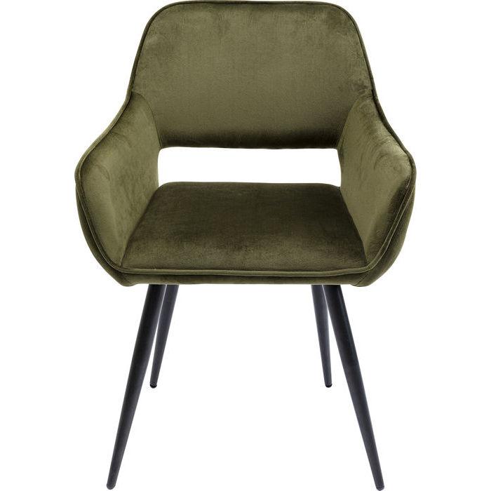 Kare design san francisco spisebordsstol - mørkegrøn polyester og stål, m. armlæn fra kare design fra boboonline.dk