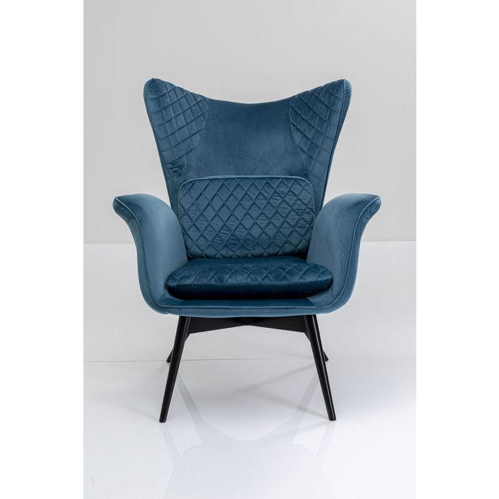 Kare design tudor lænestol - blå-grøn polyester og bøgetræ, m. armlæn fra kare design fra boboonline.dk