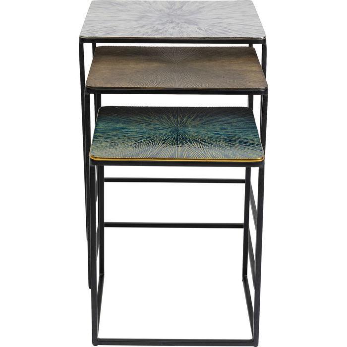 Kare design ray indskudsbord - hvid/brun/grøn aluminium og stål, (sæt ? 3) fra kare design på boboonline.dk
