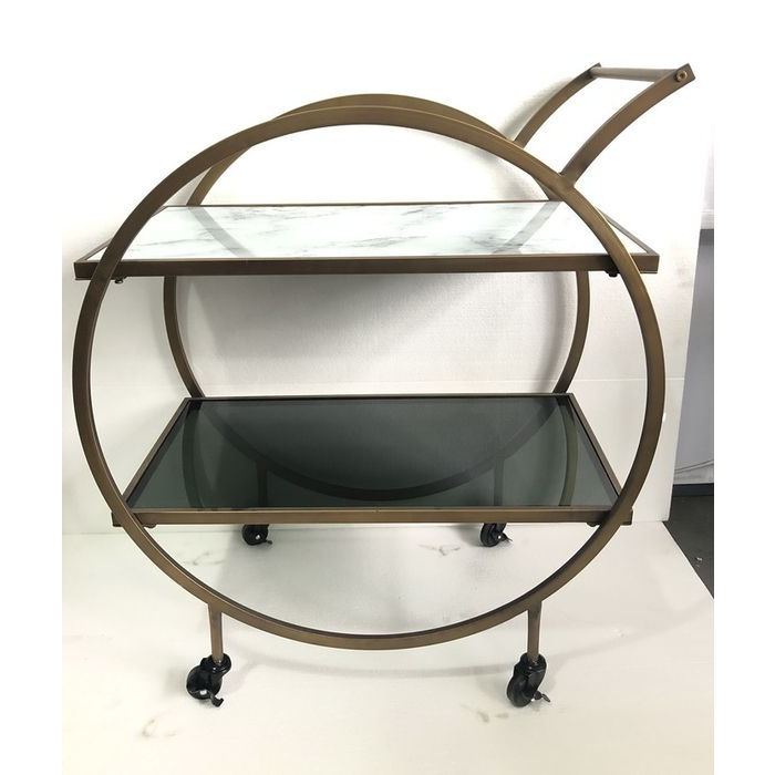 kare design Kare design loft rullebord - messing stål/lysegrå laminat/farvet glas, håndlavet, m. hjul og hylde på boboonline.dk