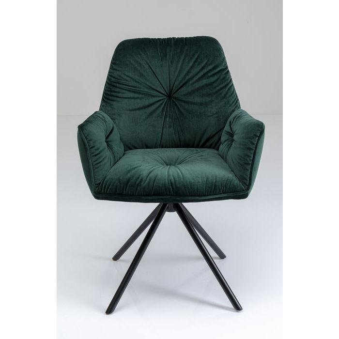 Kare design mila spisebordsstol - grøn polyester og stål, m. armlæn fra kare design på boboonline.dk