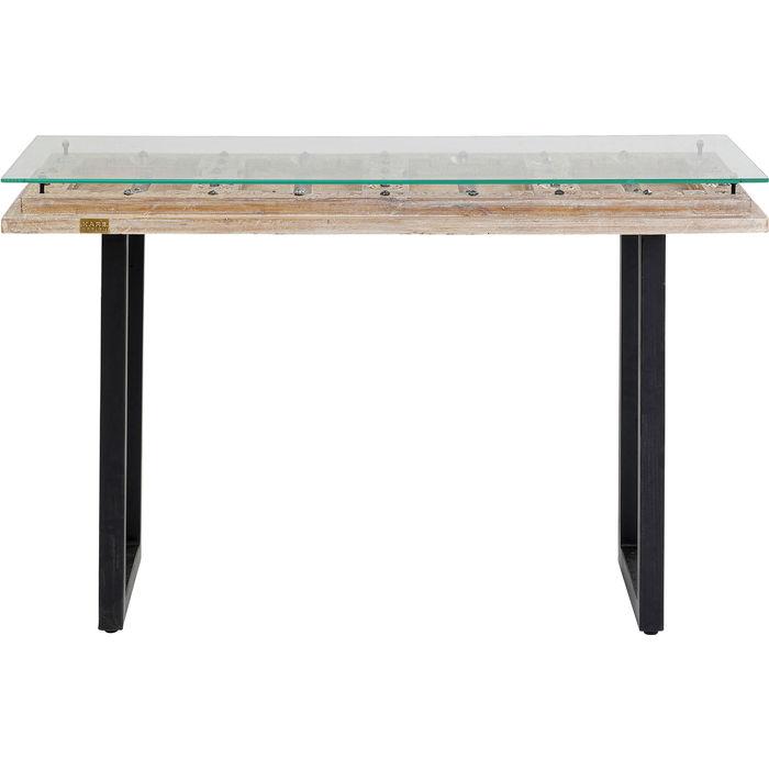 KARE DESIGN rektangulær Kalif konsolbord - klar glas, genbrugstræ og stål (120x45)