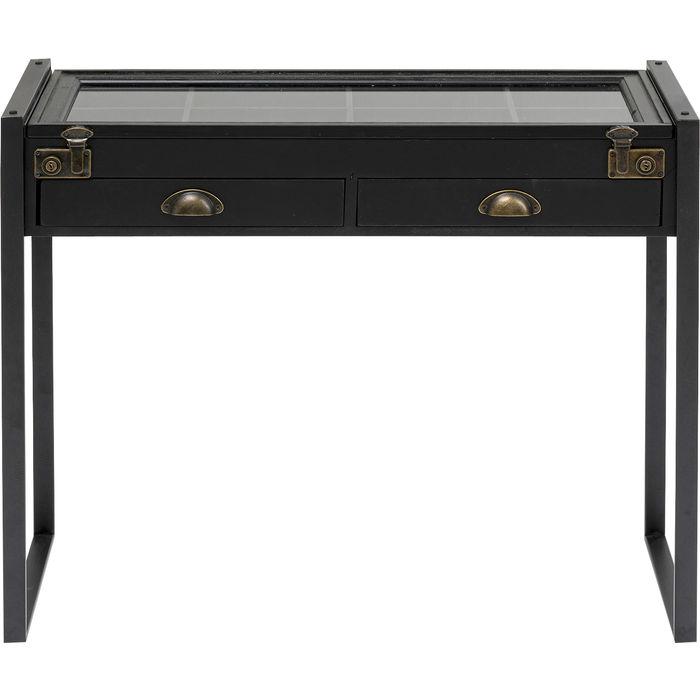 KARE DESIGN Collector Black konsolbord, m. 1 låge og 2 skuffer - sort MDF, glas og stål