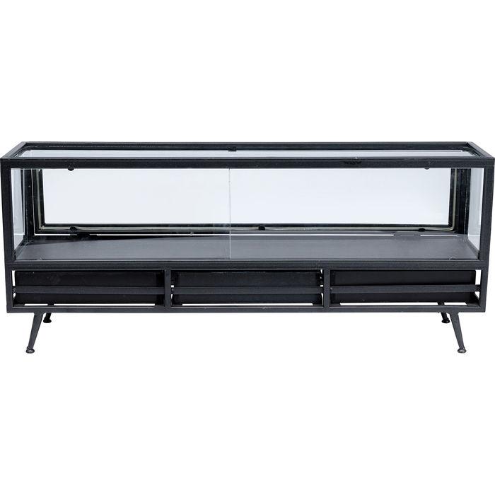 KARE DESIGN rektangulær Display Black sidebord, m. 3 skuffer - sort (70x5x18)