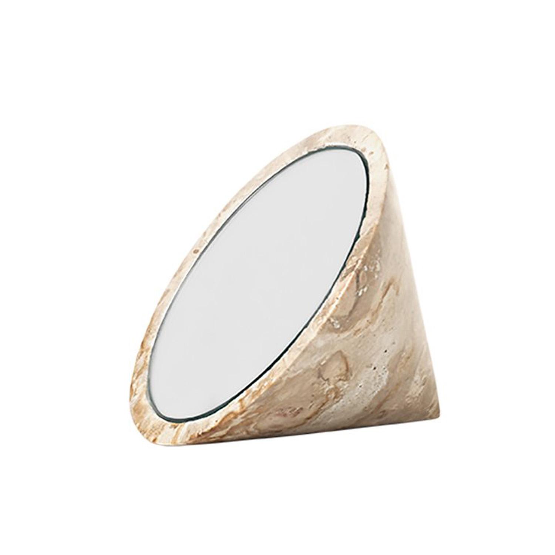 KRISTINA DAM STUDIO Spinning Top bordspejl – spejlglas og sand marmor