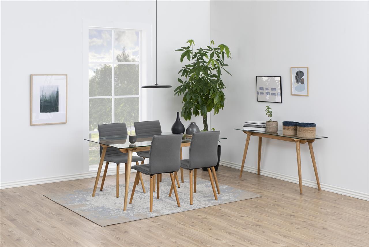 Karla spisebordsstol - lysegrå stof, træ stel