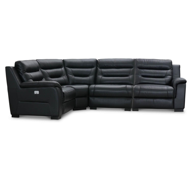 HAGA King Deluxe Biograf hjørnesofa med el recliner, sort læder