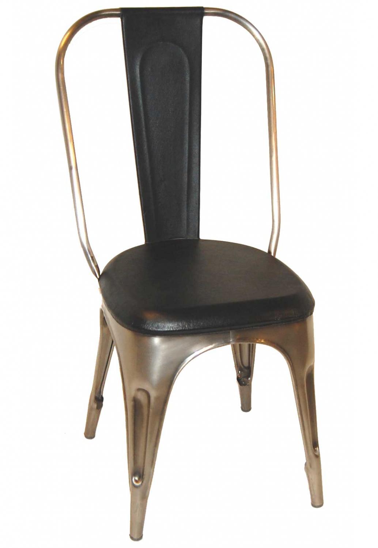 Image of   TRADEMARK LIVING Spisebordsstol - sort læder og shiny stel