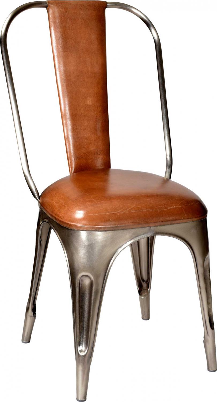 Trademark Living Spisebordsstol - Ægte Brunt Læder Og Shiny Jernstel, Polstret Spisestue