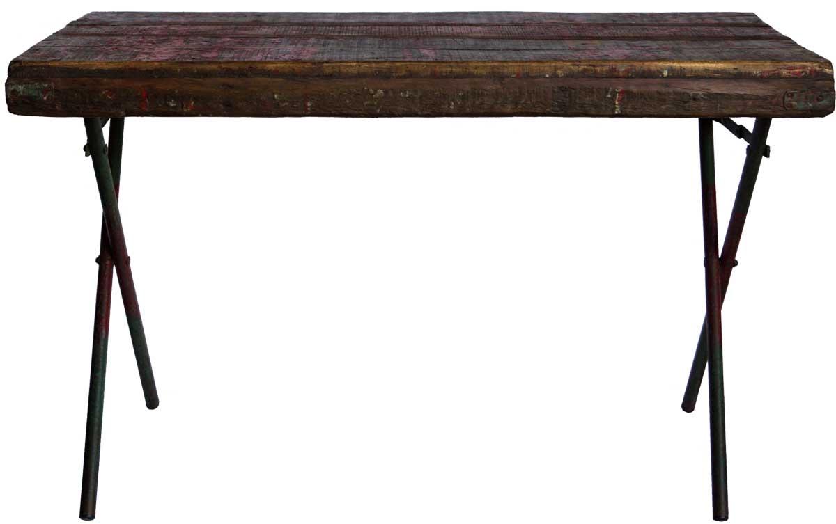 Billede af Trademark Living Gammelt bord med træplade og kryds jernstel - rød