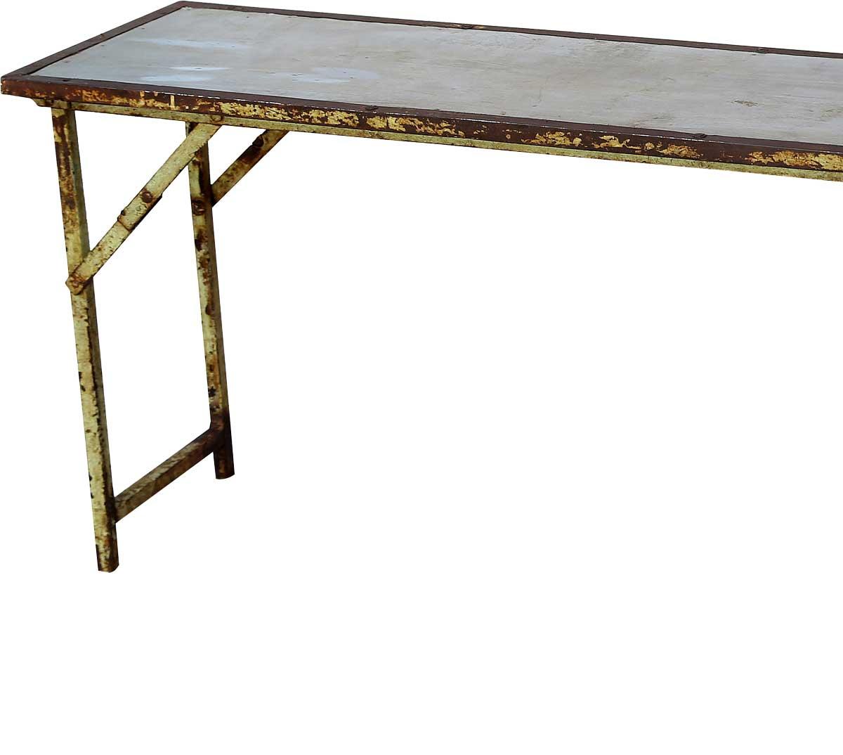 Billede af Trademark Living Gammel og rå konsolbord med galvaniseret top