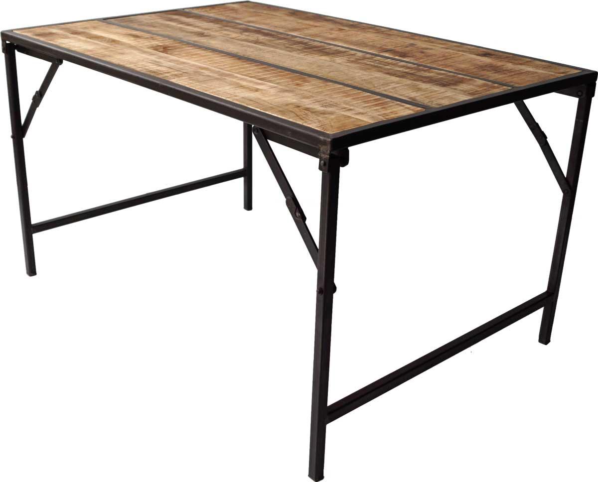 Image of   TRADEMARK LIVING Spisebord med træbordplade og jernstel