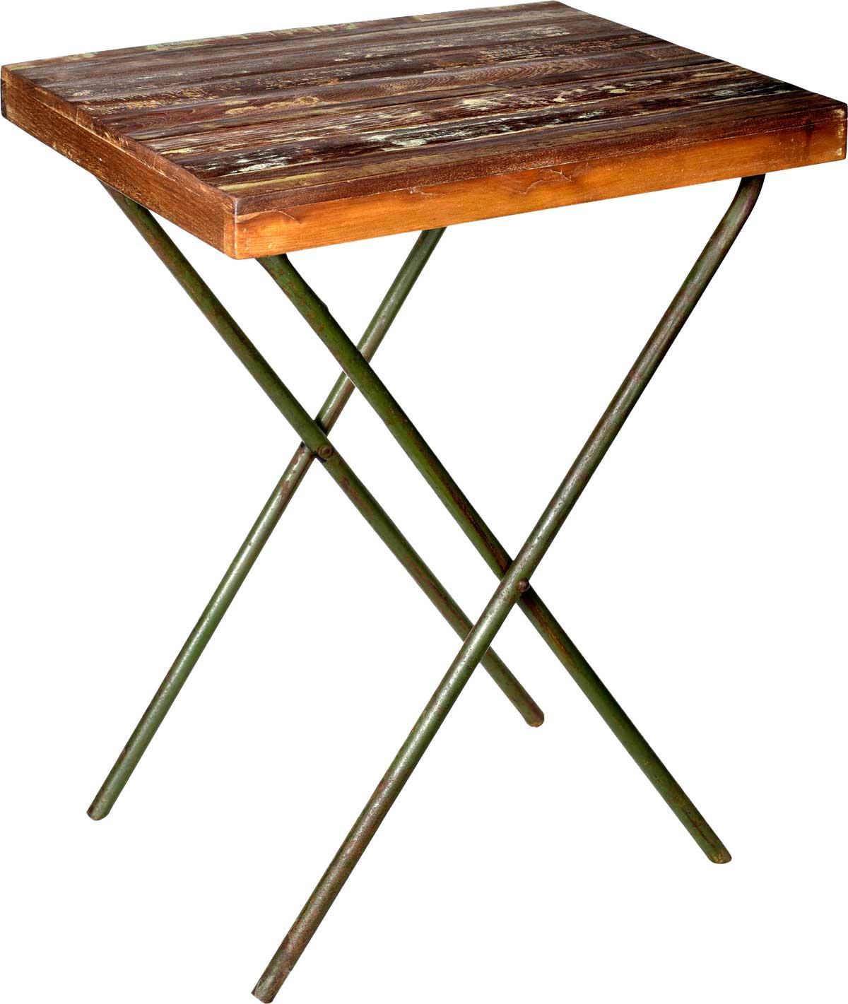 Image of   TRADEMARK LIVING Cafébord med træplade og råt gammelt jernstel