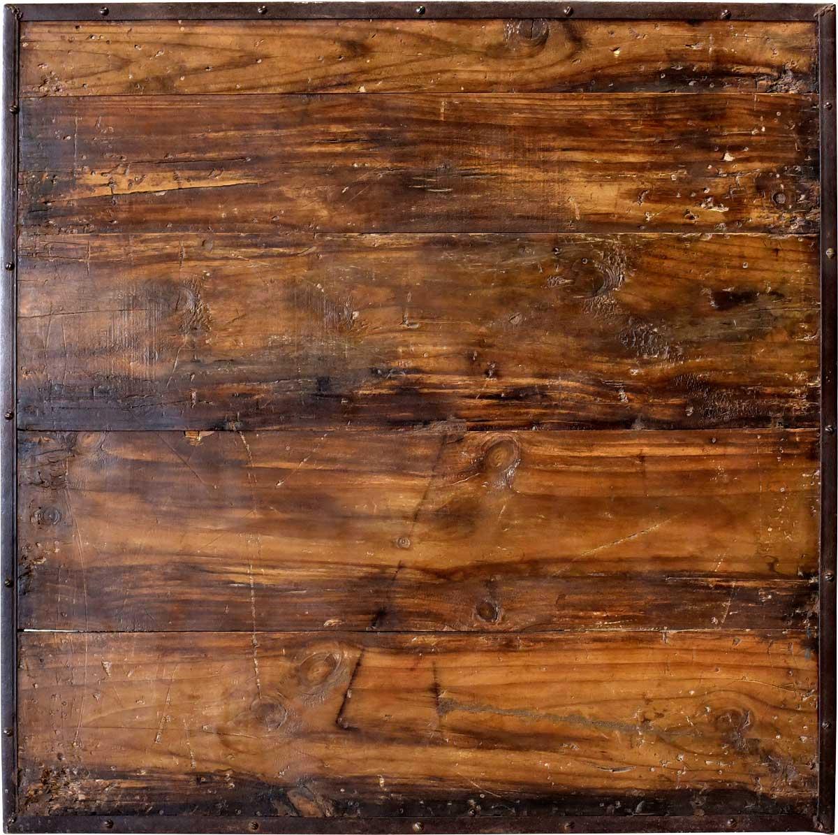 Image of   Trademark Living Vægdekoration af råt genbrugstræ og rå jernramme