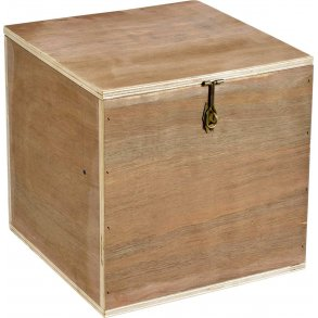 kasse med låg og hjul