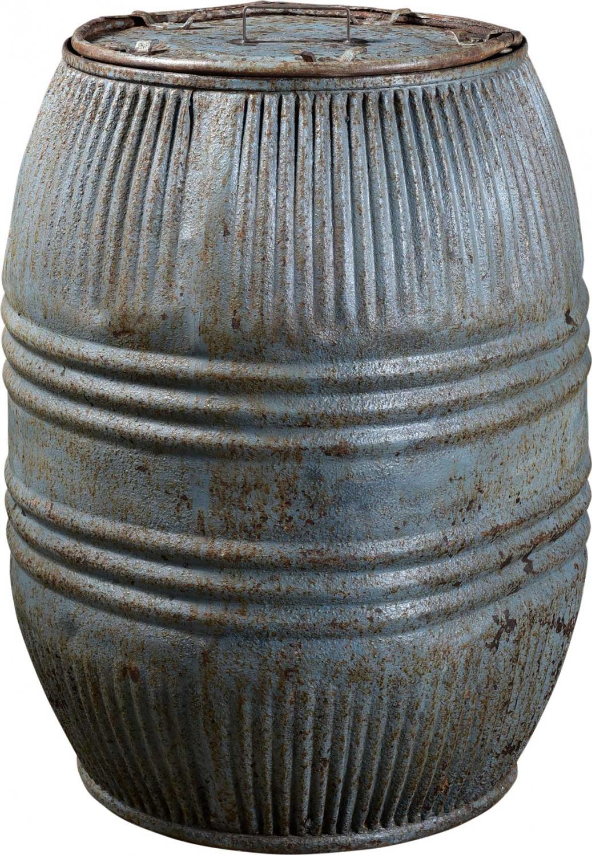 Billede af Trademark Living Stor gammel jerntønde med låg - jern og støvet blå