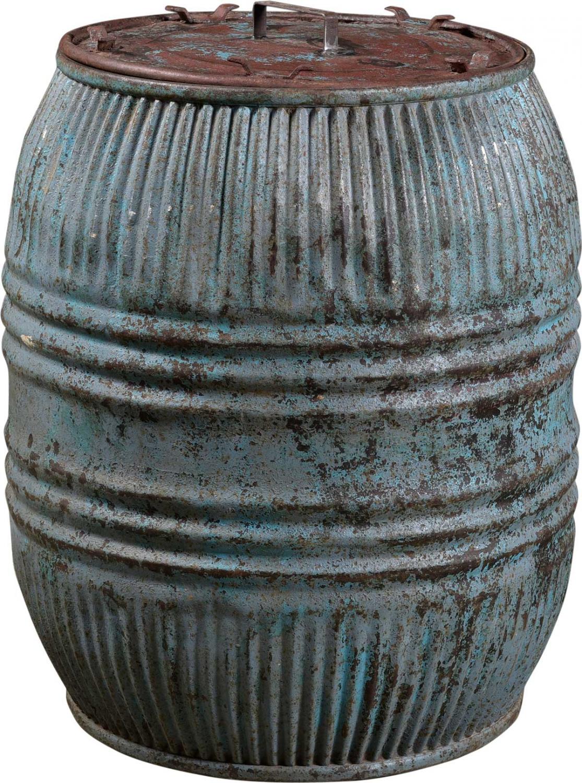Image of   TRADEMARK LIVING Stor gammel jerntønde med låg - jern og blå
