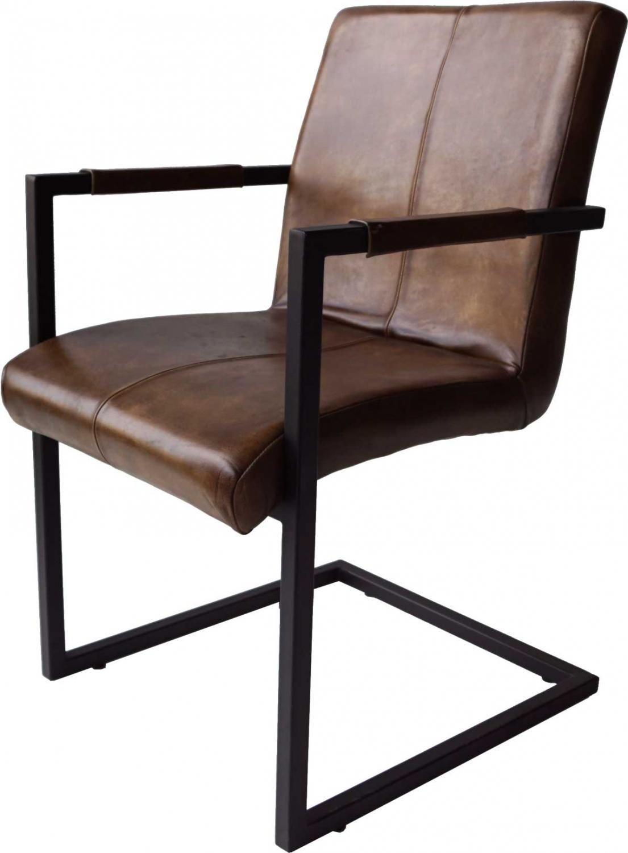 Trademark living cool stol med armlæn - antik brun læder