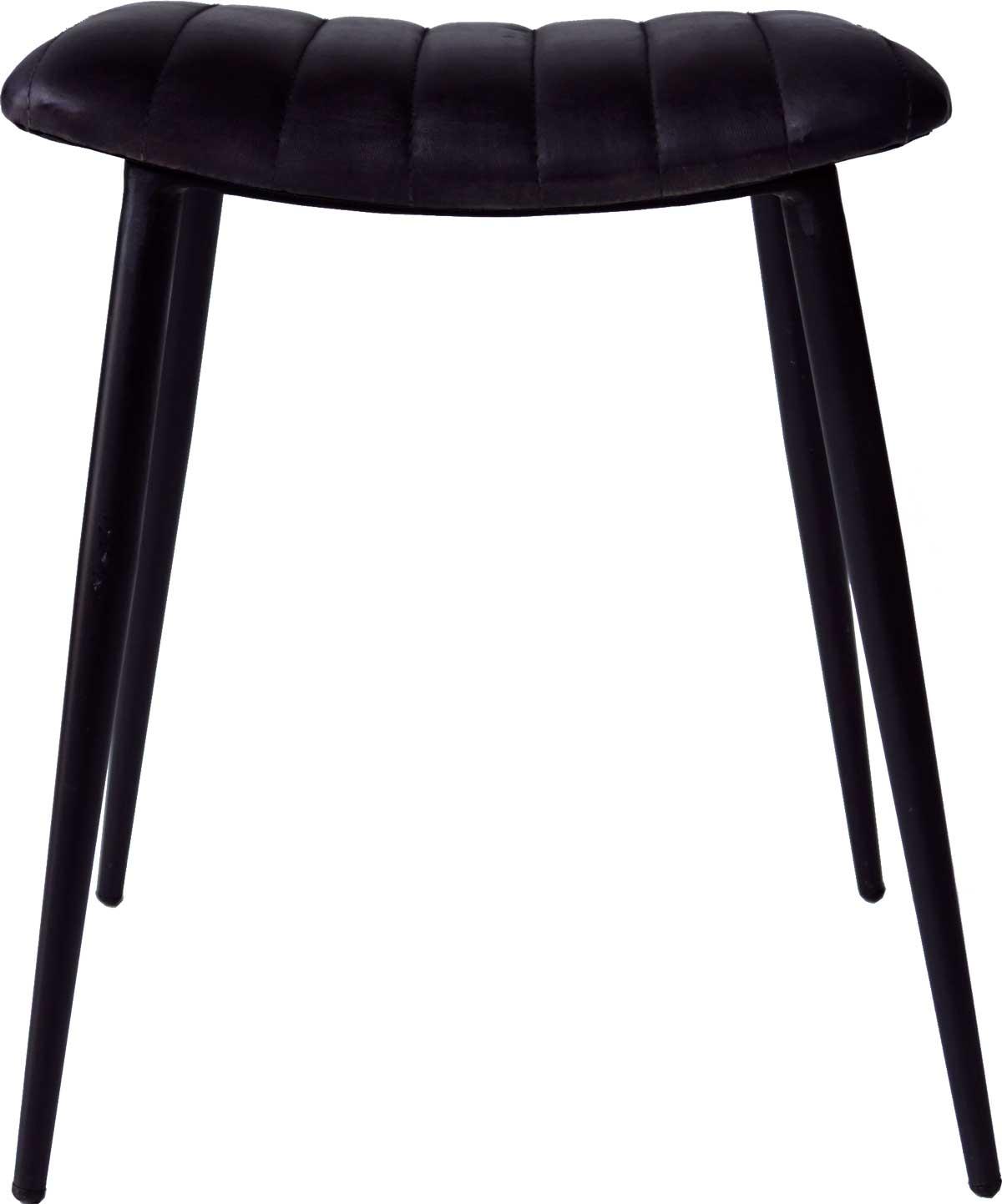 Image of   Trademark Living Fin klassisk skammel med jernstel og lædersæde