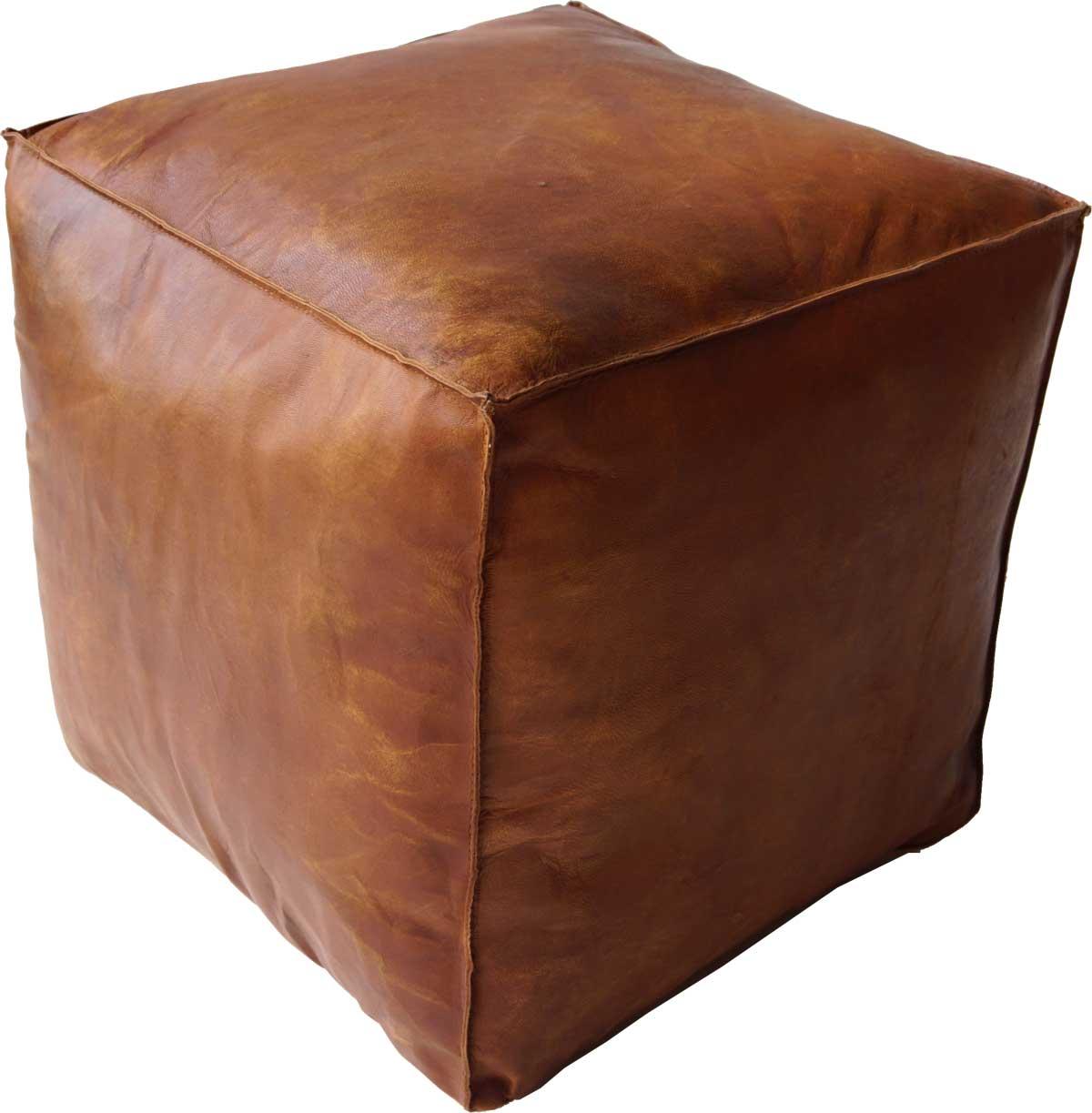 Billede af TRADEMARK LIVING Cool kvadratisk læderpuf i brun