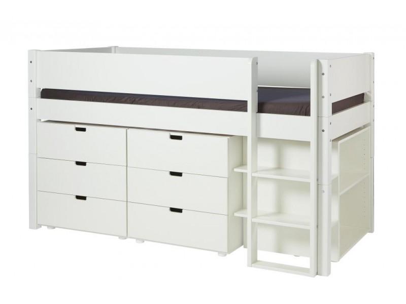 MANIS-H Arn halvhøj seng - hvid m. opbevaring (200x90)