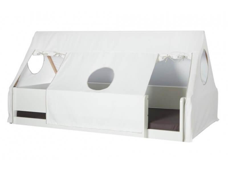 MANIS-H Husseng - hvid m. sengekant, sengehest & sengehimmel (200x90)