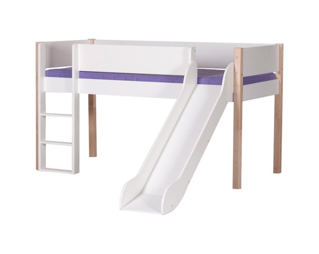 manis-h Manis-h loke halvhøj seng m. rutsjebane, hvid (200x90) hvid-bøg fra boboonline.dk