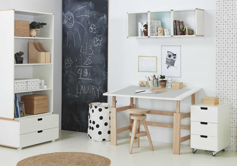 Manis-h luksus justerbart skrivebord - hvid/massiv bøg (115x65) fra manis-h på boboonline.dk