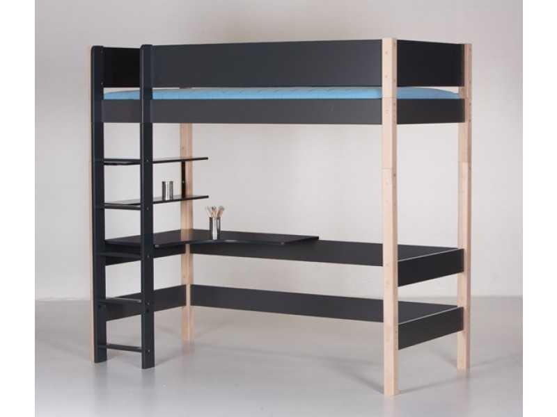MANIS-H Balder højseng med skrivebord (200x90) Sort-Sort
