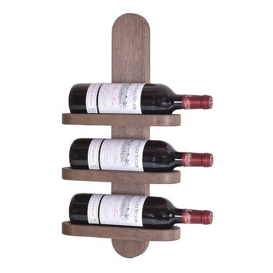BY TIKA Milano no. 3 vinreol - Olieret egetræ, væghængt, plads til 3 flasker Lakeret eg