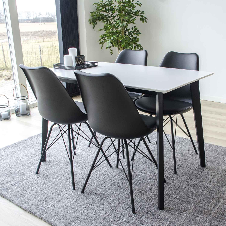 HOUSE NORDIC Oslo spisebordsstol sort kunstlæder og plastik m. sorte stålben