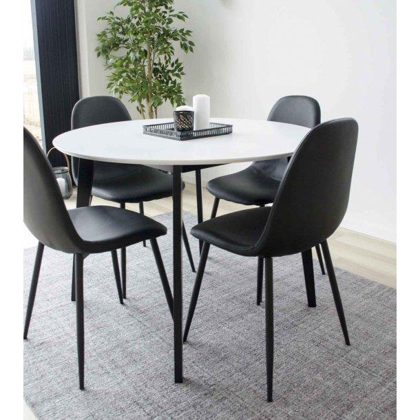 HOUSE NORDIC Stockholm spisebordsstol i sort kunstlæder med sorte ben