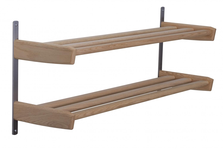 Furbo meja dobbelt skohylde - natur træ og stål, m. 2 hylder, til væg (b 90) fra furbo fra boboonline.dk