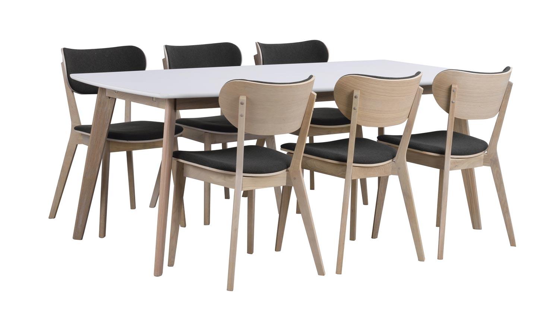Olivia spisebord - hvid/hvidvasket eg m. udtræk (150x90)