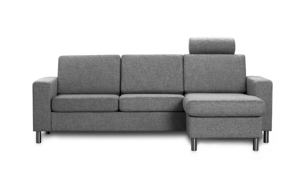 Pisa 3 pers. sofa - antracitgrå stof, m. vendbar chaiselong