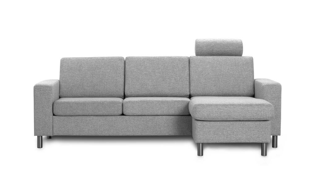 Pisa 3 pers. sofa - lys granitgrå stof, m. vendbar chaiselong