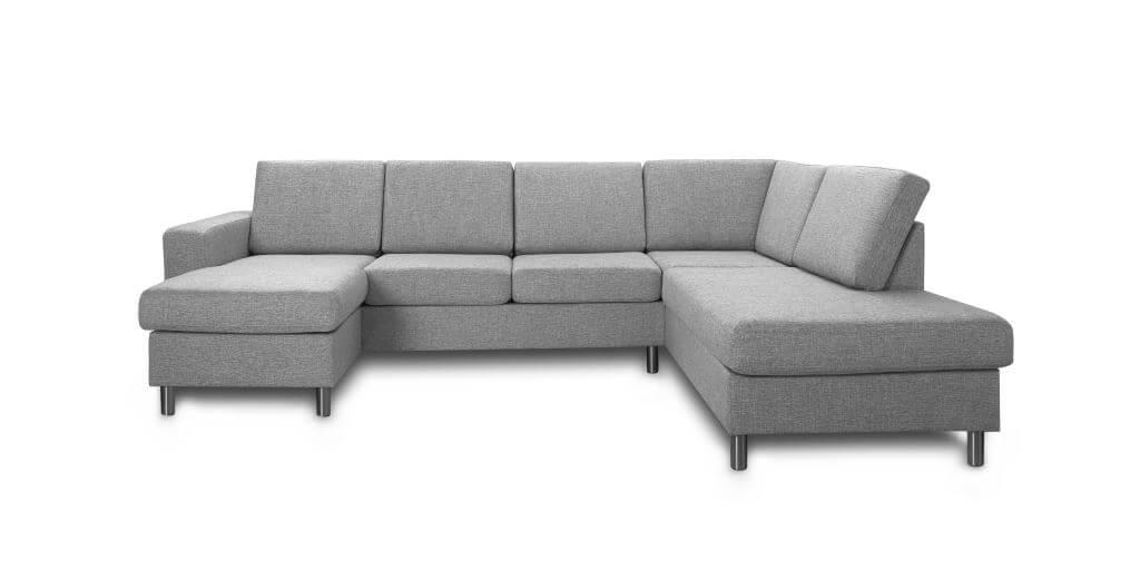 Pisa højrevendt U-sofa - lys granitgrå stof