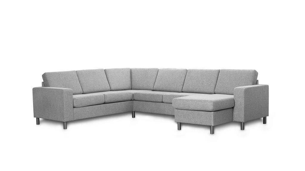 Pisa U-sofa - lys granitgrå stof, m. vendbar chaiselong
