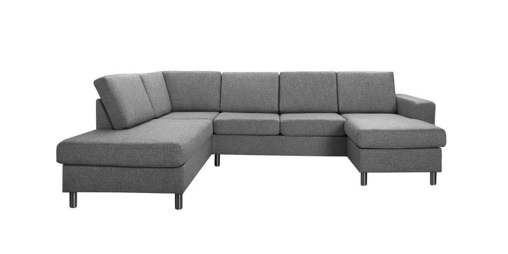 Pisa venstrevendt U-sofa - antracitgrå stof