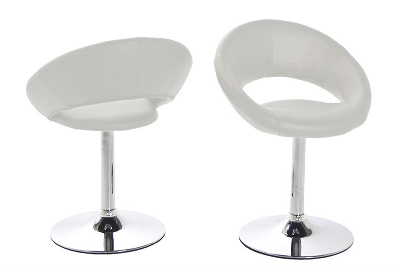 Plump spisebordsstol - hvidt kunstlæder/metal drejefod