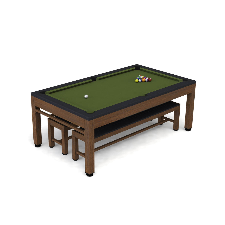 riley leisure Riley neptune 3-i-1 havebordssæt/poolbord/bordtennisbord - brun/sort/grøn, incl. bænke og tilbehør på boboonline.dk