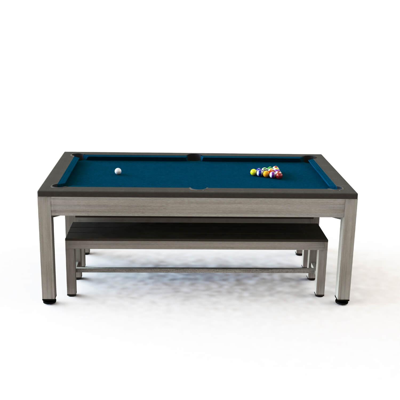 Riley neptune 3-i-1 havebordssæt/poolbord/bordtennisbord - grå/brun/blå, incl. bænke og tilbehør fra riley leisure fra boboonline.dk