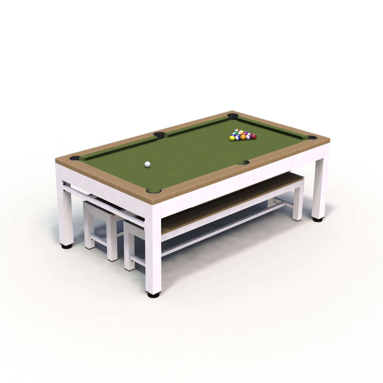 Riley neptune 3-i-1 havebordssæt/poolbord/bordtennisbord - hvid/brun/grøn, incl. bænke og tilbehør